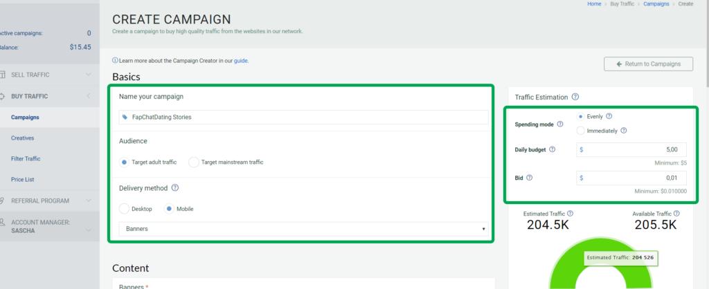 Creare una campagna pubblicitaria banner per ottenere traffico sui link affiliazione