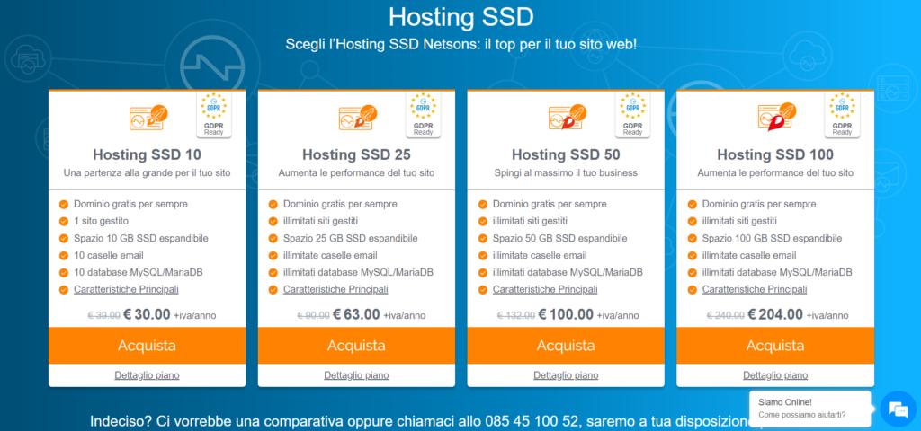 Hosting SSD veloce con certificato SSL incluso