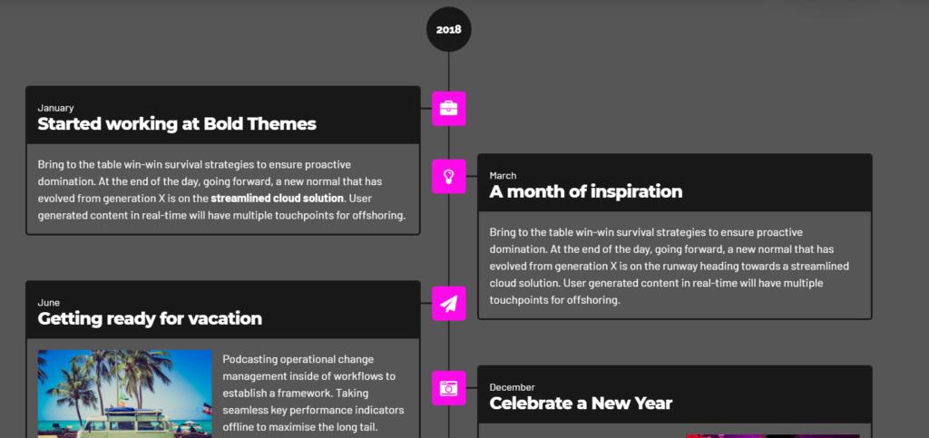 Creare una timeline su wordpress per storia azienda