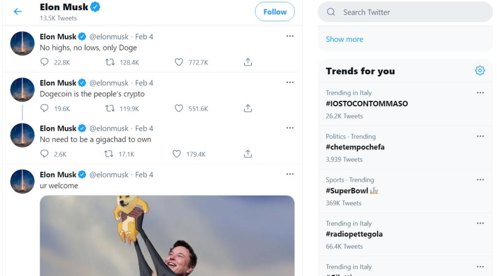Pump del Dogecoin di Elon Musk